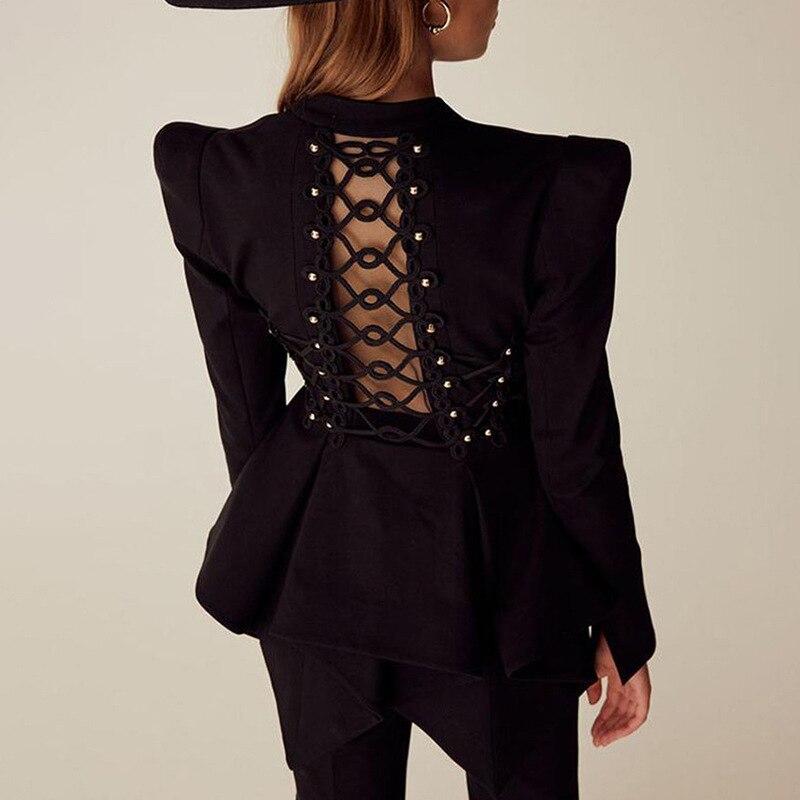 Autumn Blazer Feminino Back Lace Up Hollow Out Asymmetric Suit Blazer Women 2019 Fall High Street