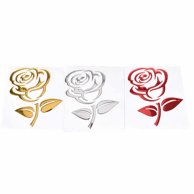 Gouden/Zilver/Rood Auto Body Decor Bloem Auto Stickers 3D Uitsparing Rose Universele Auto Styling Reflecterende Auto Motorfiets stickers