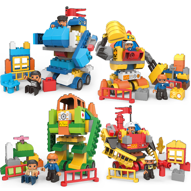 HUIQIBAO 4Style DIY Big Size City Transformed Robot Building Blocks Duploe large Police firefight engineer Toys For Children