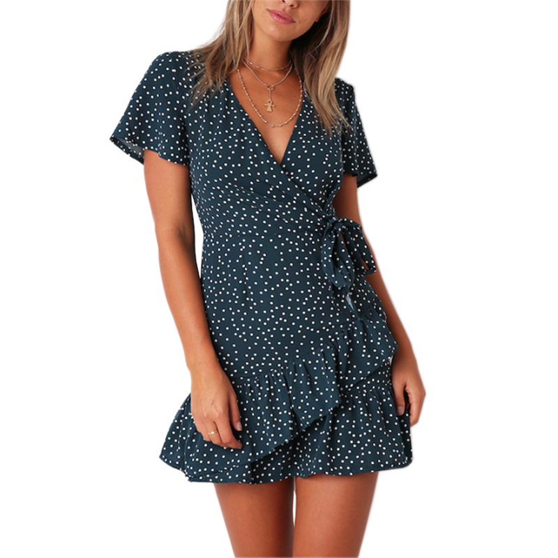 Summer Women Short Sleeve Print Dress V Neck Casual Short Dresses 4