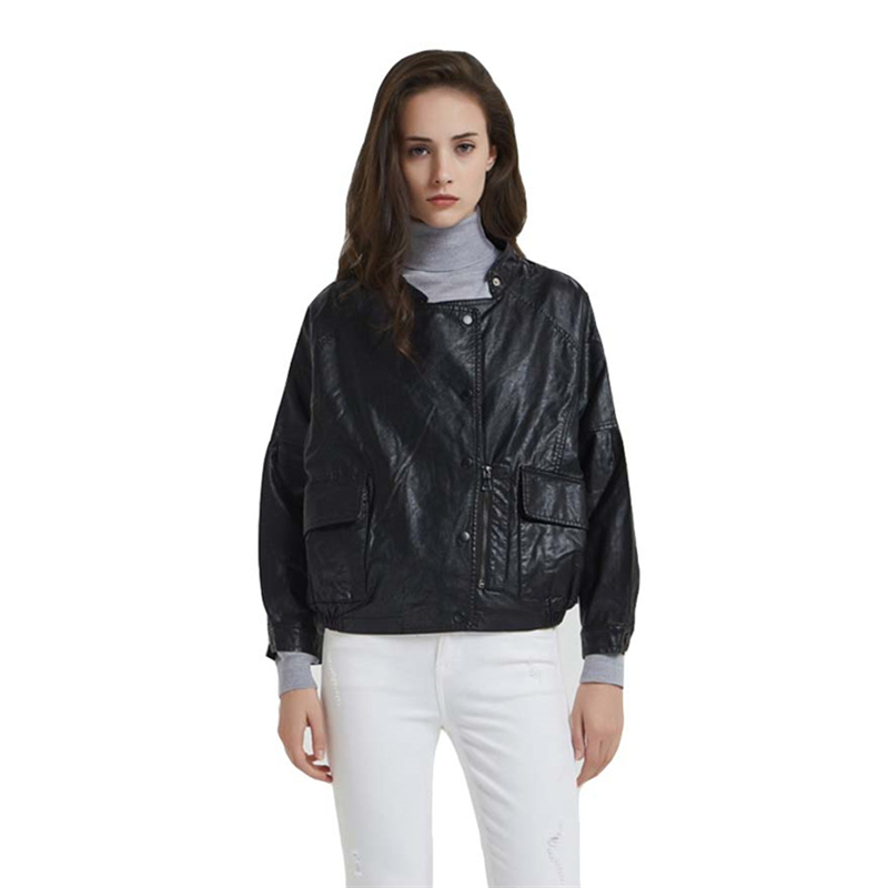 Boyfriend Style Cropped Black Faux   Leather   Biker Jacket for Women Cute Ladies Raglan Sleeve Slant Zipper PU   Leather   Jacket