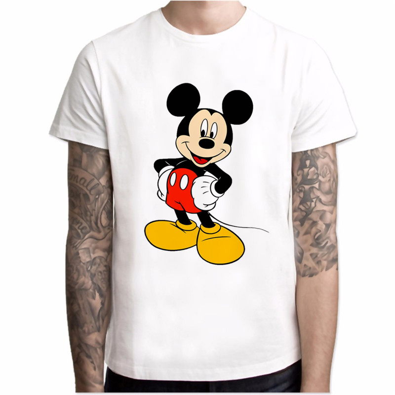 New Mickey T Shirt Men Fashions Mickey Cartoon Print Streetwear Men Short Sleeve Casual Harajuku T Shirt Hot Sale T Shirts