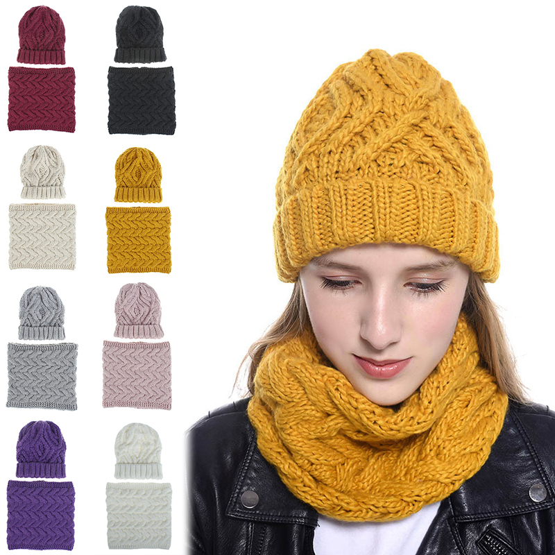 Women Hot Winter Solid Knitted Scarf Set Neck Beanie Hat Easy Scarves Cotton Warm Plus Fur Cap Collars Scarf Ladies White Yellow