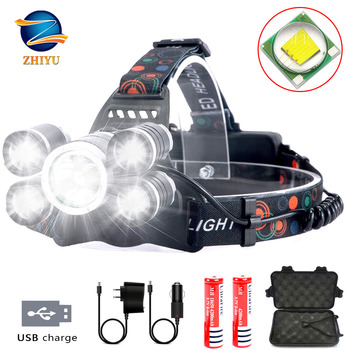 Headlamp Rechargeable LED Headlight 4 Modes, LED Waterproof Work Headlight, Brightest Flashlight ,for Camping,Hiking, Fishing t25 zooming led long shooting headlight t6 bead 3 leds 4 modes lantern camping headlamp for hiking fishing