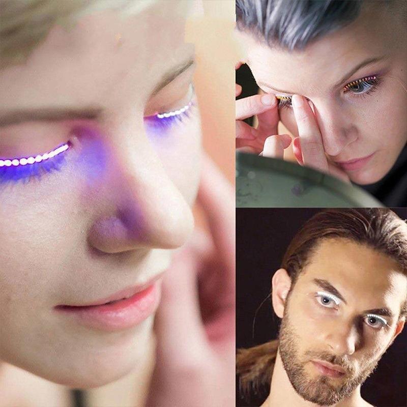 1 Pair Led Shining Eyelid False Eyelashes Light Up Eye Lash Luminous Eyelash Christmas Party Bar Colorful Makeup Eye Lash Eyelid