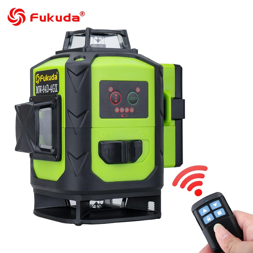 Nível giratório 360 do laser de fukuda 16 linhas 4d verde feixe de linha transversal nivelador a laser auto-nivelamento horizontal vertical interior ao ar livre