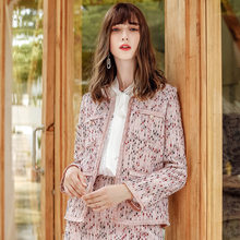 2019 Temperament Women spring autumn Pearl button knitted tweed Coat Women Stitching Jacket female(China)