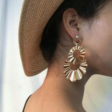 Salircon Punk Geometric Metal Drop Earring Fashion Simple Alloy Double Circle Round Dangle Earrings Exaggerated Women Jewelry