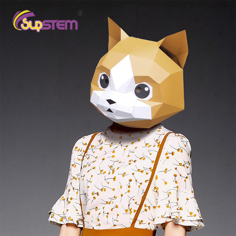 3D Paper Model Face Mask Papercraft DIY Cat Kitty Animal Prank Toys Funny Joke Cool Stuff Crazy Cosplay Halloween Party Gifts