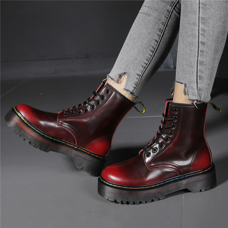 Platform Martens Boots Women Shoes 2020 New Black Leather Ankle Boots Women Punk Shoes Thick Bottom Motorcycle Boots De Mujer|Ankle Boots| - AliExpress