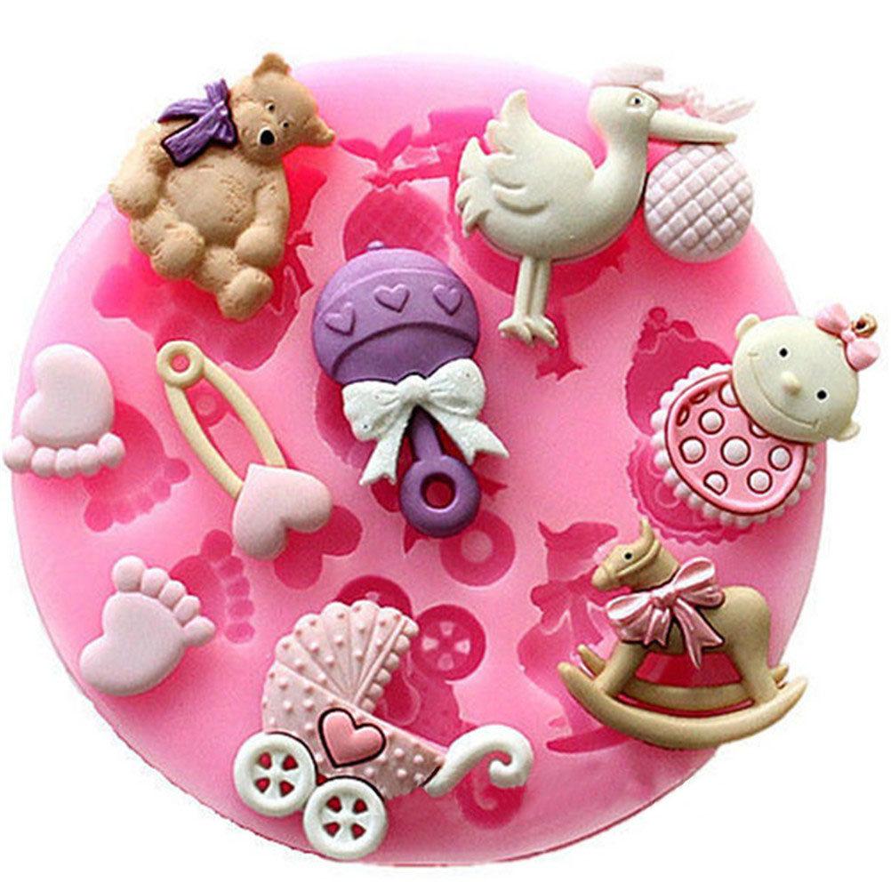 Baby Shower Party 3D Silicone Fondant Mold For Cake Decorating Cake Sugar Craft Chocolate Moulds Tools DIY