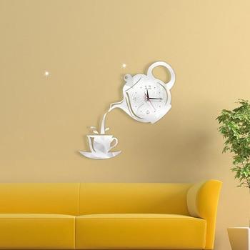 3D Acrylic Mirror Wall Clock Creative DIY Coffee Cup Teapot Wall Clock Home Living Room Decorative Self-adhesive Wall Clocks 8