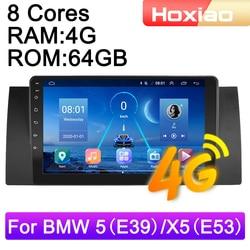 Автомагнитола 2 DIN, 4G, Android 9, мультимедийный видеоплеер для BMW 5 E39 E53 X5 1995-2001 2002 2003-2006, GPS-навигация, аудио, 2 DIN