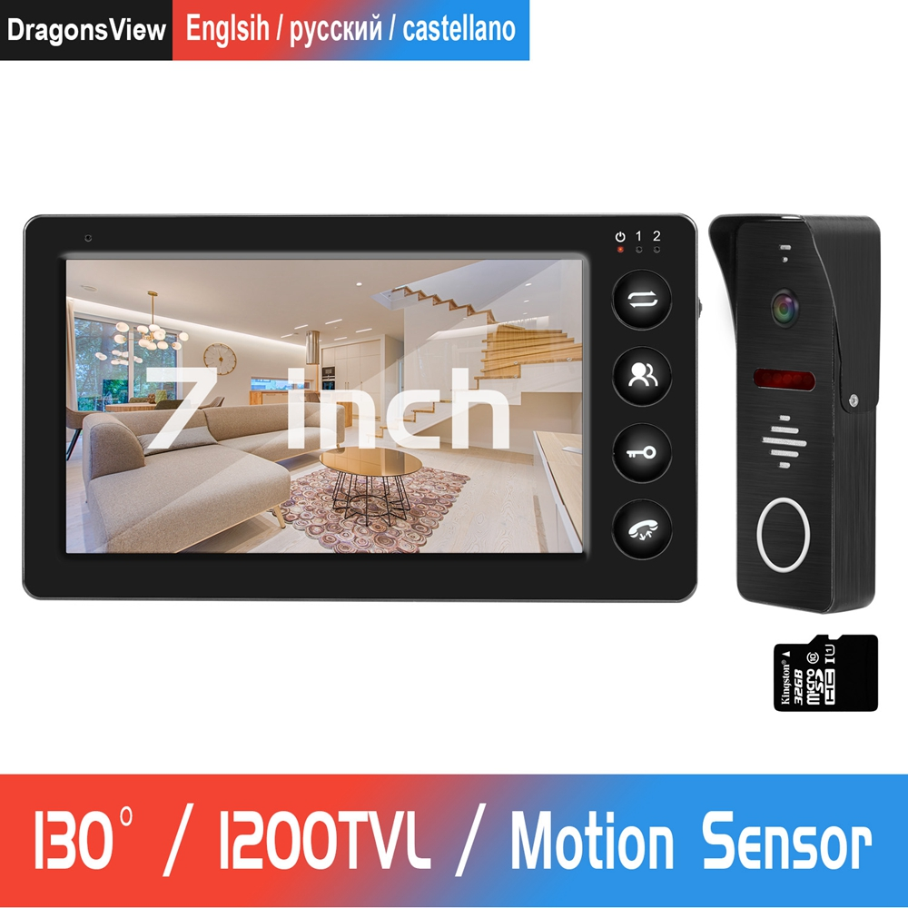 Видеодомофон 1200TVL IR Camera 7 дюймов HD монитор с картой памяти 32G Поддержка обнаружения движения запись дверного домофона