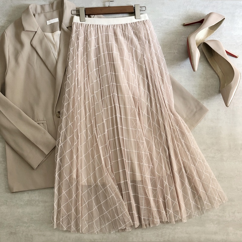 2021 Spring Summer Women Mesh Pleated Skirts Plaids Printing Elastic High Waist Office Lady Midi Skirts Long Tulle Skirt