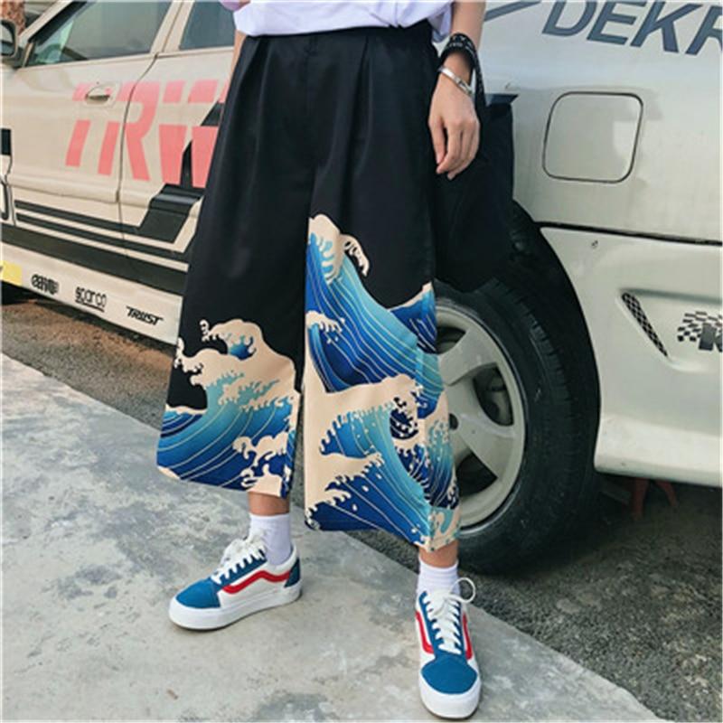 Casual   Pants   Summer Japanese Harajuku Leisure Loose Trousers Woman Cartoon Printed   Wide     Leg     Pants