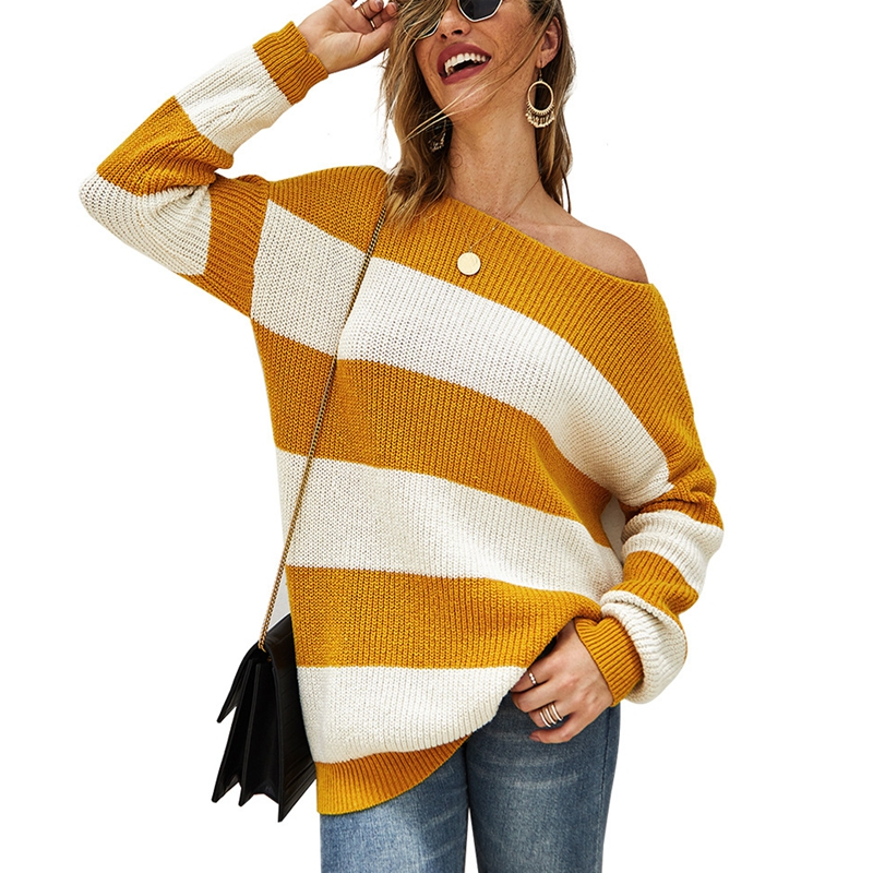 Autumn And Winter Fashion Women's 4XL 5XL 6XL 7XL 8XL Sweater Jacket Casual Round Neck Sexy Striped Bust 130CM