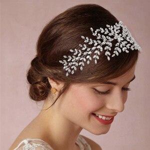 Image 1 - Hadiyana ファッション花嫁王冠の結婚式のティアラジルコン女性ヘアアクセサリーかぶとソフト高級バレッタ BC4702