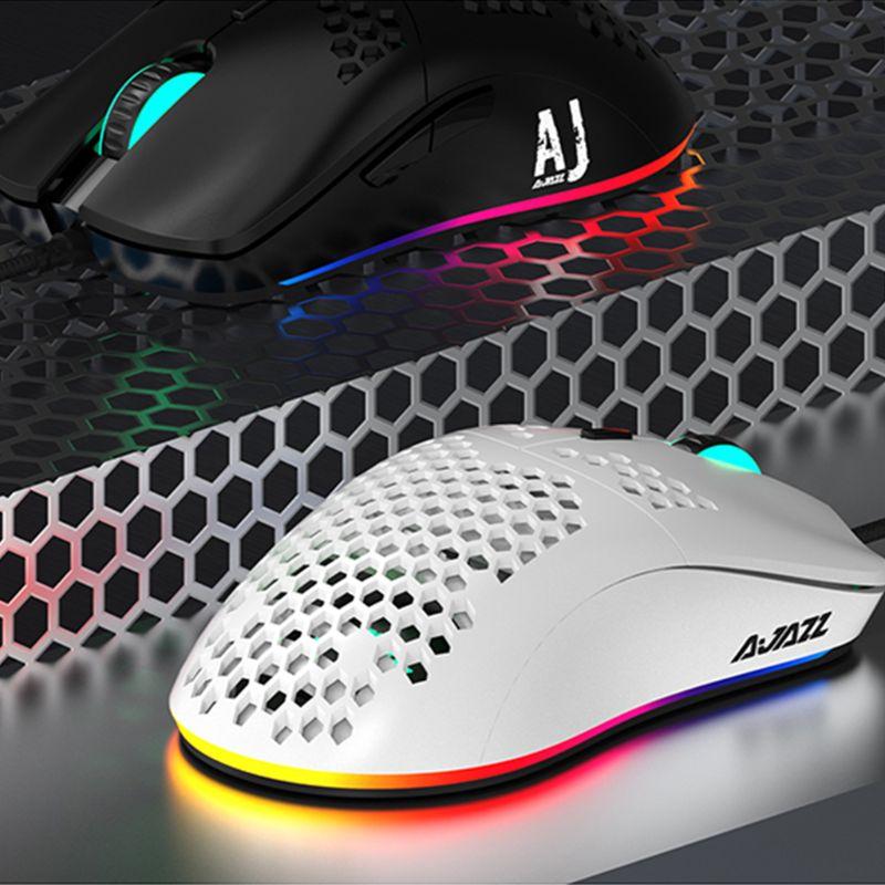 Aj390 leve com fio mouse oco-para fora