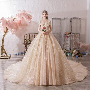Image 2 - Vestido Cocktail Limited Vestido De Festa Sen Wedding Dress 2020 New Bride Luxury Dream Luxurious Super Big Tail Main Net Voice