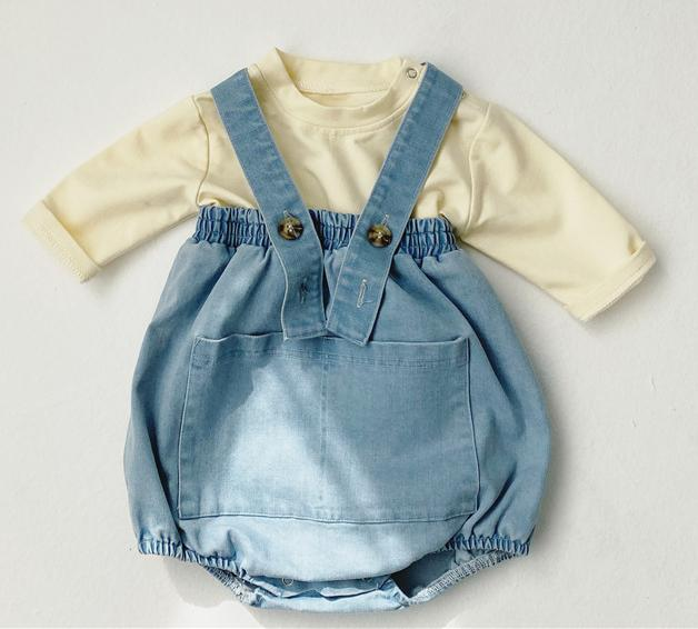 2020 Spring Baby Girls Boy Clothes Suit Kids Baby Casual Long Sleeve T-shirt+Denim Overalls Newborn Clothes Set Infant Clothing