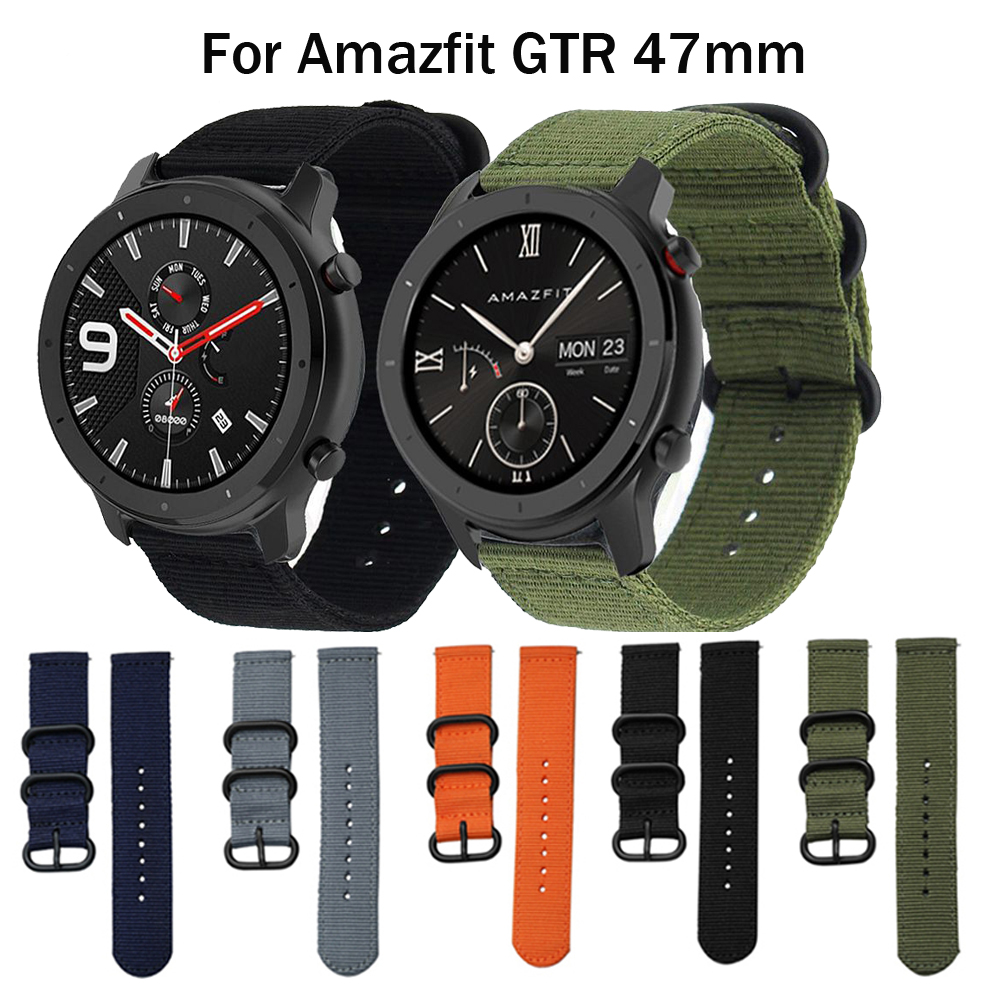 New Nylon Canvas Wirst Strap For Huami Amazfit GTR 47MM Smart Watch Band Replaceable Bracelet Accessories Strap For Vivoactive 4