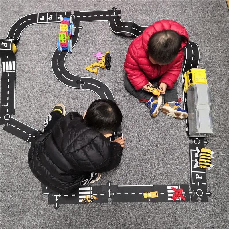 Caminho de emenda estrada quebra-cabeça esteiras piso flexível carro pista quebra-cabeça taffic estrada jogar brinquedos para crianças jogos tapete