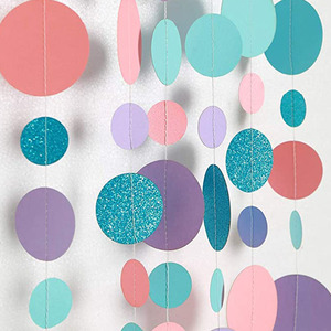 4 Meters Round Circle Hanging Paper Garland String Chain Home Birthday Wedding Banner Jungle Mermaid Party Decoration kw09
