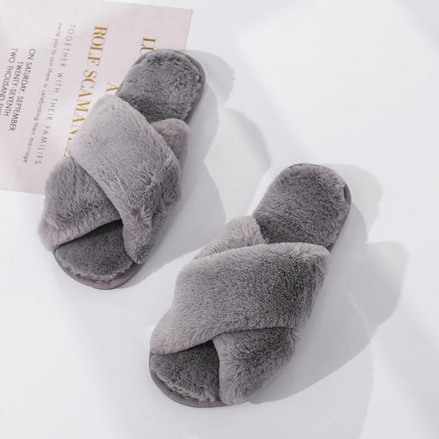 Inverno feminino casa chinelos de pele do falso moda quente sapatos mulher deslizamento em apartamentos feminino slides preto rosa aconchegante casa peludo chinelos 3
