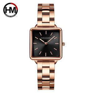 2021 New Arrival Full Solid Stainless Steel Square Dial Japan Movement Quartz Gift Rose Gold Ladies Top Brand Watches for Women