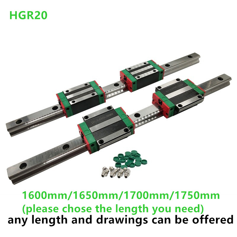 2 sets HGR20-1700mm Hiwin Liner rail /& 4 pcs HGH20CA Block Bearing