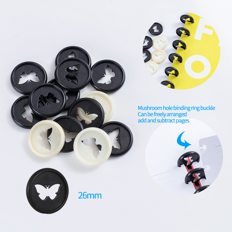 New Butterfly Pattern Binding Disc Notebook Mushroom Hole Button Loose-leaf Coil 360 Degree Flip Plastic Disc Buckle Office