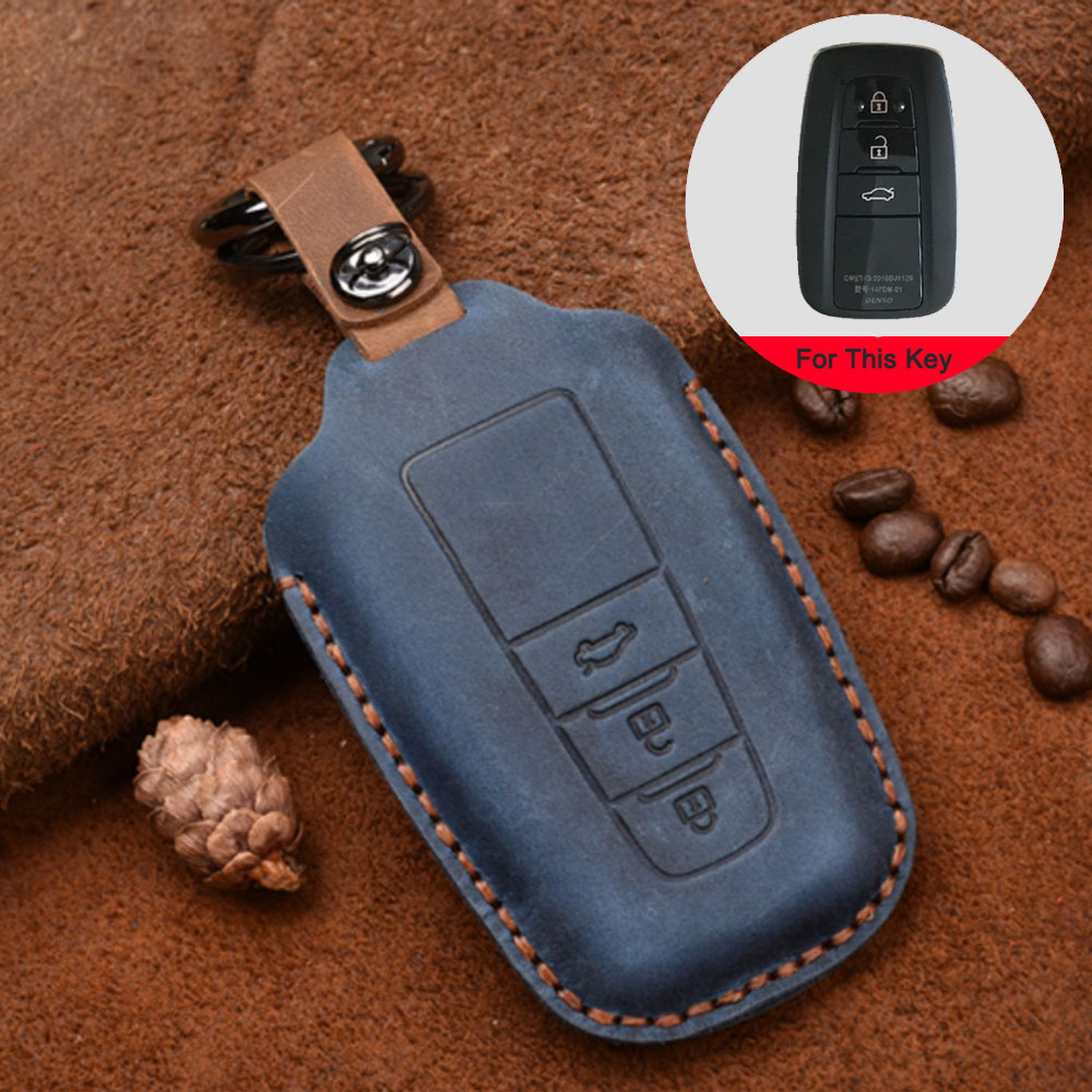 New cow Leather Car key cover 3 Button keyless Case For Toyota Camry CHR Prius Corolla RAV4 Prado 2017 2018 2019 keychain House