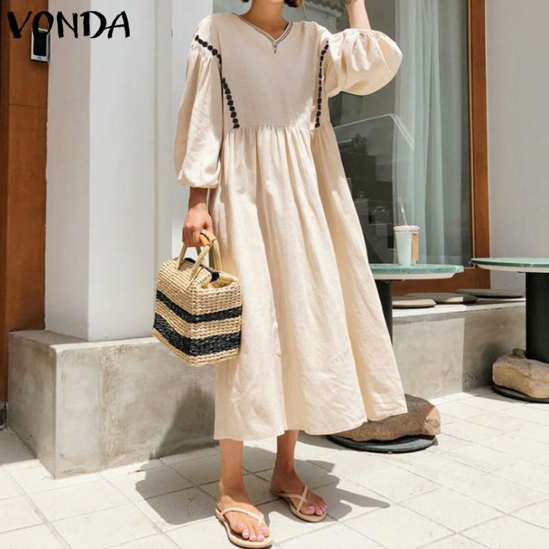 Богемное платье в винтажном стиле с рукавами фонариками, вечерние длинные платья макси VONDA, праздничное платье, осень 2020, женский сарафан размера плюс|Платья|   | АлиЭкспресс