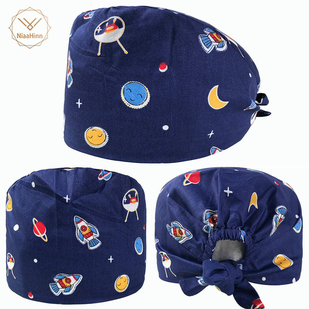 Men Medical Surgical Caps Sun And Spaceship Print Medical Hats Women Cotton Dentist Caps Unisex High Quality Pet Doctor Hats New