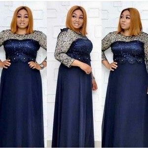 Image 4 - ชุดแอฟริกันผู้หญิง Elegant Maxi Feminino O Neck เอวสูงหวานชุดฤดูใบไม้ผลิสีทึบชุดสตรียาว