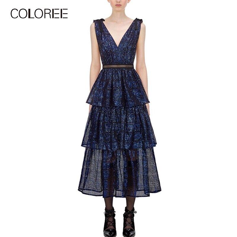 COLOREE haute qualité 2019 femmes robe élégante cascade volants bleu robe soirée soirée Club Sexy robe Midi concepteur de piste