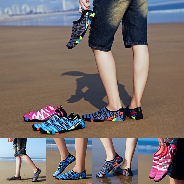 2020 Men Woman Beach Summer Outdoor Wading Shoes Swimming Slipper On Surf Quick-Drying Aqua Shoes Skin Sock Striped Water Shoes 5