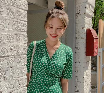 2020 Plus Size New Summer Dress Girls Boho Party Chiffon Female Vintage Dress green dot short Sleeve Women Dresses Robe Vestido new fashion plus size women s green green dress korean version of summer slim green dress 2126
