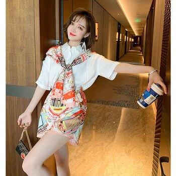 Women Summer Fashion Print Scarf Bow Shirt Top + Wide Leg Short Set 2 Piece Outfits Female Vintage Loose Blouses Short Pant Set 1