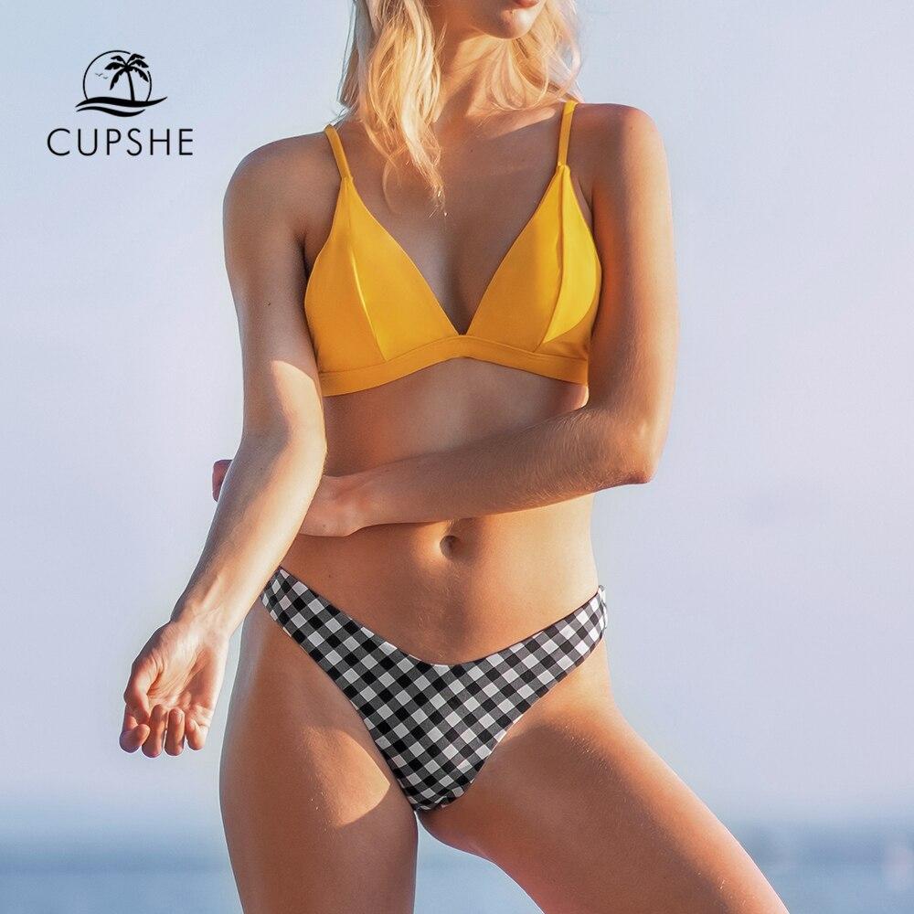 CUPSHE Yellow and Gingham Triangle Bikini Set Sexy Thong Bikinis Swimsuit Women Two Pieces Swimwear Biquinis 2020 Bathing Suit