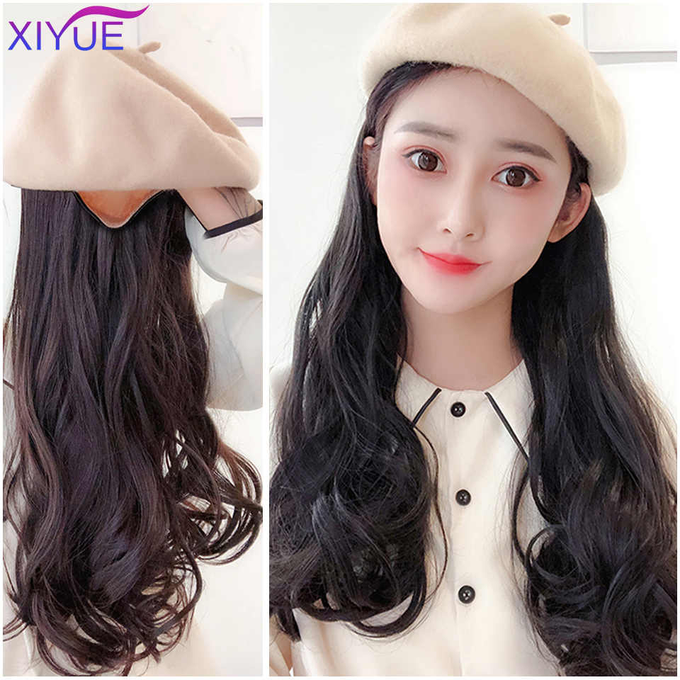 Elegant Style Women Berets Hat Berets Cap Wig Wavy Long Hair Big Wavy Curly Hair Extensions Girls Beret New Design Synthetic Hai Synthetic None Lace Wigs Aliexpress