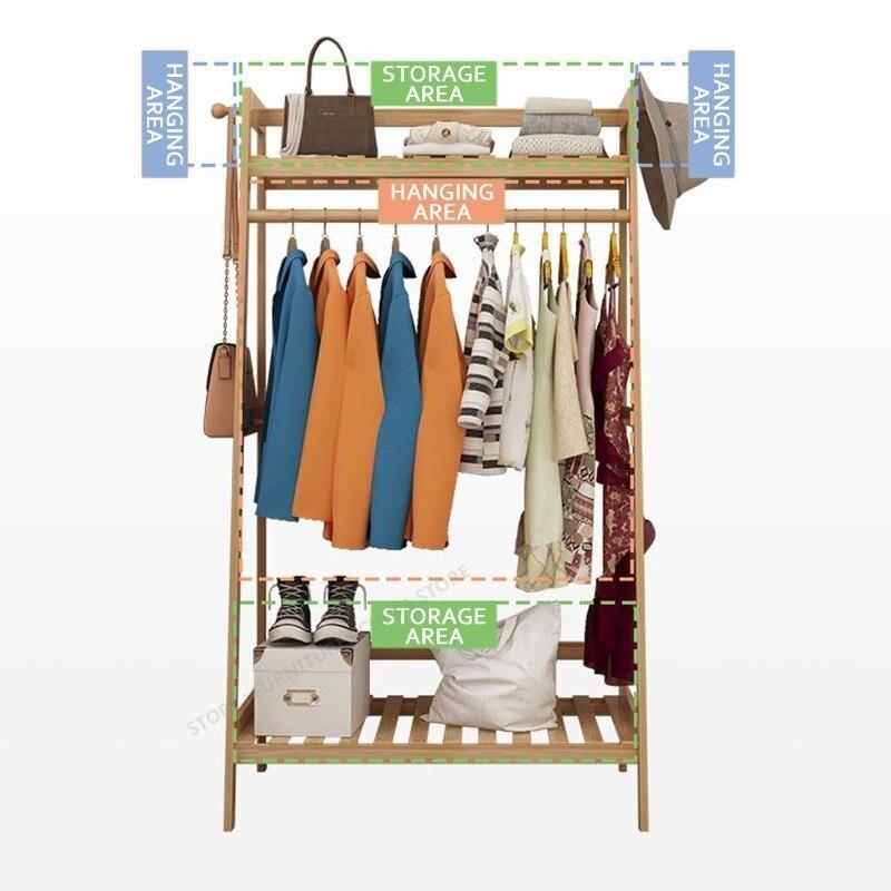 20% grand bambou portemanteau supports chapeau cintre multifonction vêtements support de stockage porte-veste cintre bambou meubles