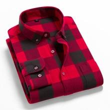Plaid Shirt Spring Slim-Fit Long-Sleeve Men Flannel Plus-Size Casual 100%Cotton Man Brand