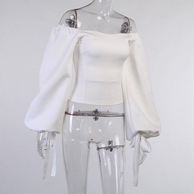 Sexy Off Shoulder Lantern Sleeve Blouse Shirt Women White Elegant Spring Autumn Office Lady Casual Loose Tops Temperament Shirt 4