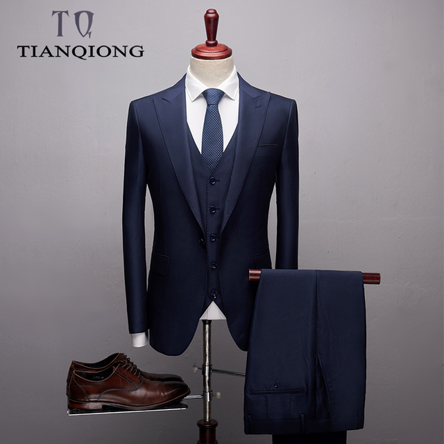 TIAN QIONG 2019 New Arrival High Quality Boutique Casual Black Suits Men,men's Blue Suits Blazers Coat Trousers Waistcoat S-2XL