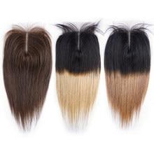 MOGUL HAAR Farbe 2 Dunkelbraun Remy Menschenhaar Schließung Peruanische Gerade Haar 4*4 Spitze Verschluss Ombre Honig blonde Natürliche Schwarz