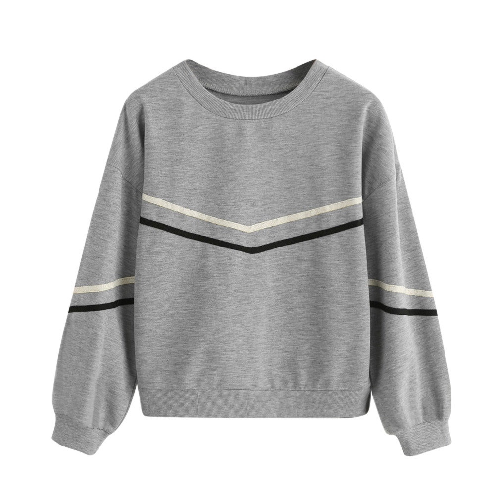 JAYCOSIN Trend Women Stripe Tape Sweatshirt Casual Simple Long Sleeve Solid Color Comfortable Soft Loose O-Neck Pullover Blouse