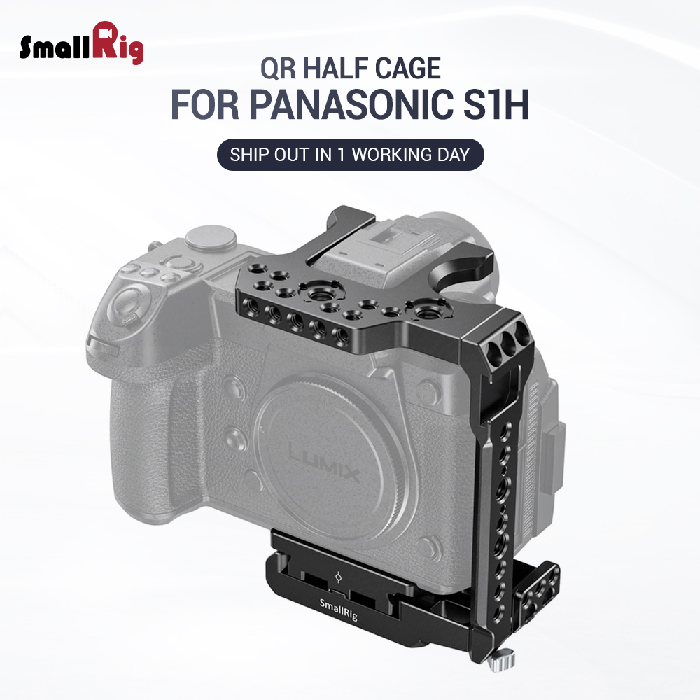 SmallRig S1H Camera Cage Quick Release Half Cage for Panasonic S1H Feature w/ Manfrotto 501 Type Plate Nato Rail Shoe Mount 2513|Camera Cage| |  - title=
