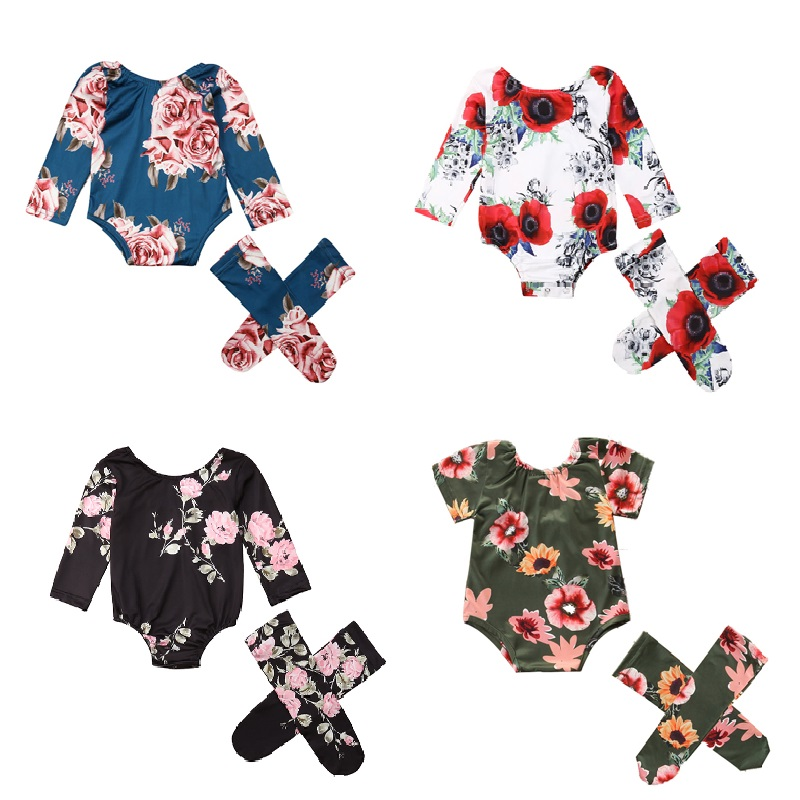 0-24M Floral Print Baby Clothes Girl Summer Fashion Toddler Baby Rompers+Leg Warmers Long Sleeve New Born Baby Clothes Outfit